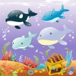 Family animals in the sea. — Stock Vector