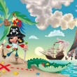 Pirate on the island. — Stock Vector