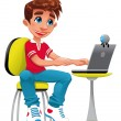 Boy and computer. — Stock Vector