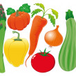 Stok Vektör: Vegetable family. Vector illustration, isolated objects.
