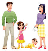 Human family with mother, father and children. — Stock Vector