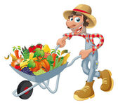 Peasant with wheelbarrow, vegetables and fruits. — Stock Vector
