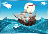 Galleon in the sea. — Stock Vector