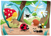 Insects family on the ground. — Stock Vector