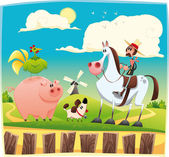 Funny farmer with animals. — Stock Vector