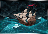 Galleon in the sea with storm. — Stock Vector