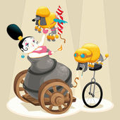 Woman with cannon and dachshunds in the circus. — Stock Vector