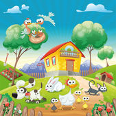 Home with Animals. — Stock Vector