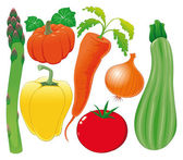 Vegetable family. Vector illustration, isolated objects. — Stock Vector