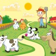 Stock Vector: Farm Family with background