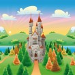 Panorama with medieval castle. — Stock Vector