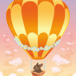 Hot air balloon with brown bunny. — Stock Vector #9860713