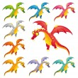 Set of colored dragons. — Stock Vector #9860716