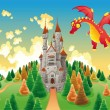Panorama with medieval castle and dragon. — Stock Vector