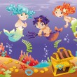 Stock Vector: Baby Sirens and Baby Triton with background.