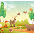 Animals in wood. — Stock Vector #9860830