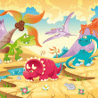 Dinosaurs Family with background. — Stock Vector #9860852