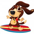 Dog with surf. — Stock Vector