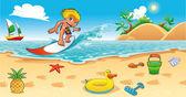 Surf nel mare. — Vettoriale Stock