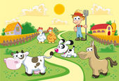 Farm Family with background — Stock Vector