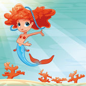 Young mermaid with background. — Stock Vector