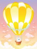 Hot air balloon with white bunny. — Stock Vector