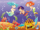 Baby Sirens and Baby Triton with background. — Stock Vector