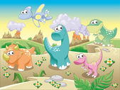Dinosaurs Family with background. — Stock Vector