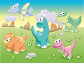 Dinosaurier-Familie mit Hintergrund. — Stockvektor