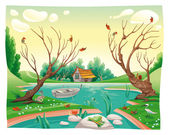 Pond and animals. — Stock Vector
