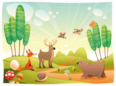 Animals in the wood. — Stock Vector