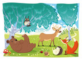 Animals in the wood. animal, autumn, background, bear, bird, childhood, cloud, color, daisy, deer, fable, fairy, fauna, flower, forest, fox, grass, hedgehog, illustration, isolated, ladybird, ladybug, — Stock Vector