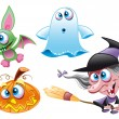 Stock Vector: Halloween - Witch, Ghost, Bat, Pumpkin