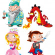 Medieval Age - Princess, Prince, Dragon, Magician — Stock Vector #9879609