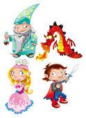 Medieval Age - Princess, Prince, Dragon, Magician — Stock Vector
