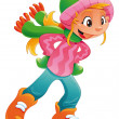 Young ice skater girl. — Stock Vector