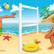 beach volley scène — Vector de stock  #9880711