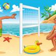 ボレーのビーチのシーン — ストックベクタ