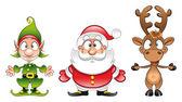 Santa claus, Elf, Rudolph — Stock Vector