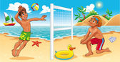 Beach Volley scene. — Stock Vector