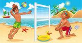 Beach Volley scene. — Stock Vector