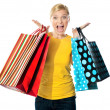 Young woman excited after tons of shopping — Stock Photo #10090646