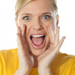 Excited cute girl in front of camera — Stock Photo #10090692