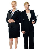 Two businesswoman over white background — Stock Photo