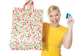 Beautiful girl posing with shopping paper bag — Stock Photo
