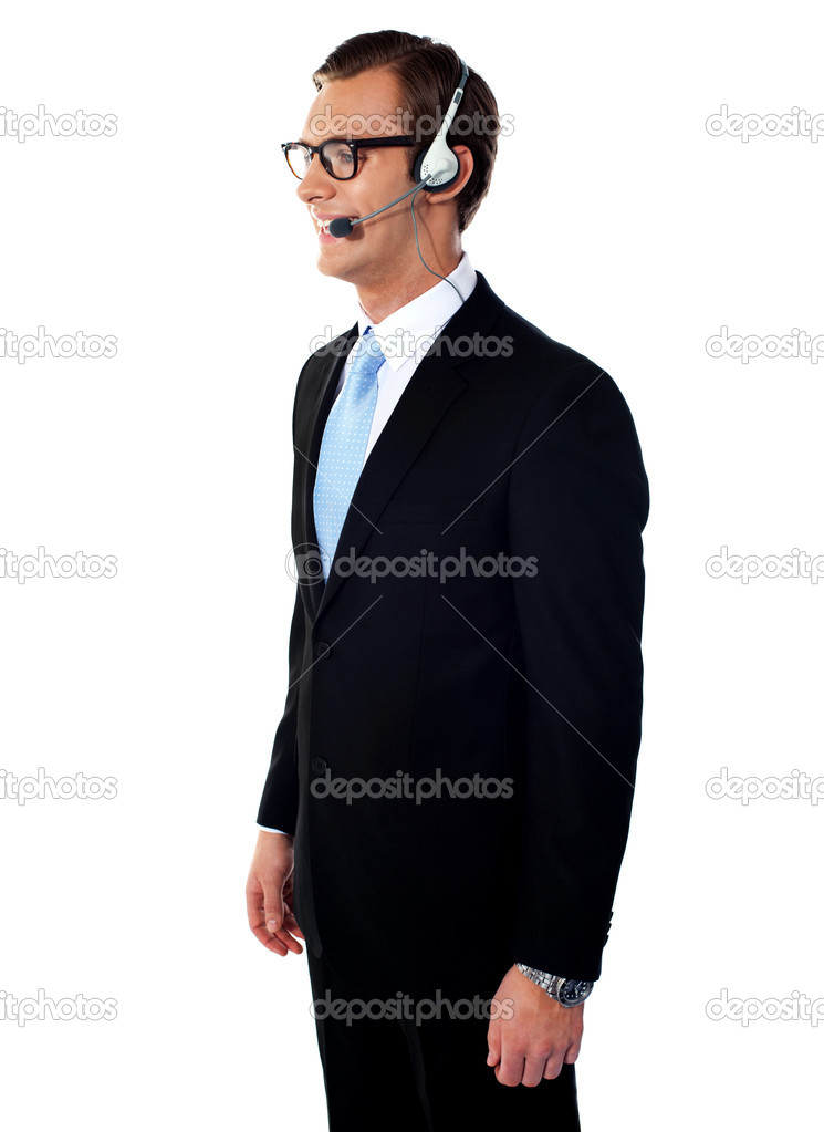 Handsome smiling help-desk male executive isolated over white — Stock Photo #10267117