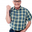 Excited elderly male dressed in casuals — Stock Photo #10429538