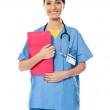 Medical specialist with prescripton report — Stock Photo
