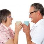 Romantic senior old couple enjoying coffee — Stock Photo