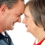 Elderly romantic couple, closeup shot — Stock Photo #10619091